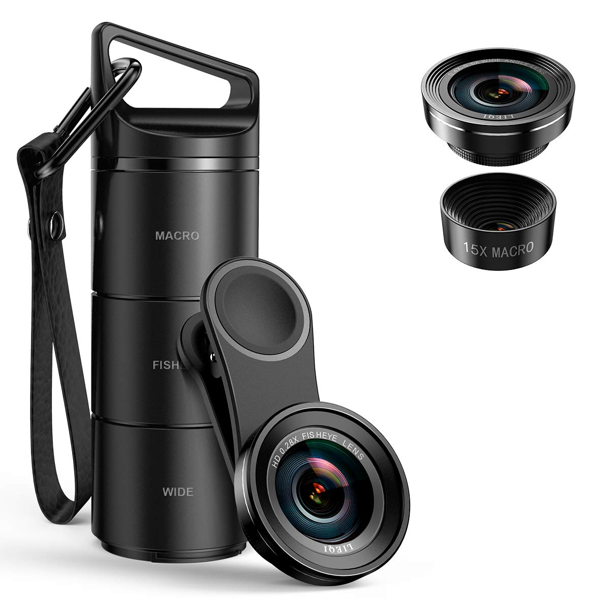 (Upgraded Version) Criacr Phone Camera Lens, 3 in 1 Cell Phone Lens Kit for iPhone, Samsung, 180°Fisheye Lens, 0.6X Wide Angle Lens, 15X Macro Lens, for iPhone 7 Plus, 8, and Most Smartphones