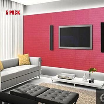 3D Brick Wallpaper, NOPTEG 3D PE Foam DIY Self Adhesive Wall ...