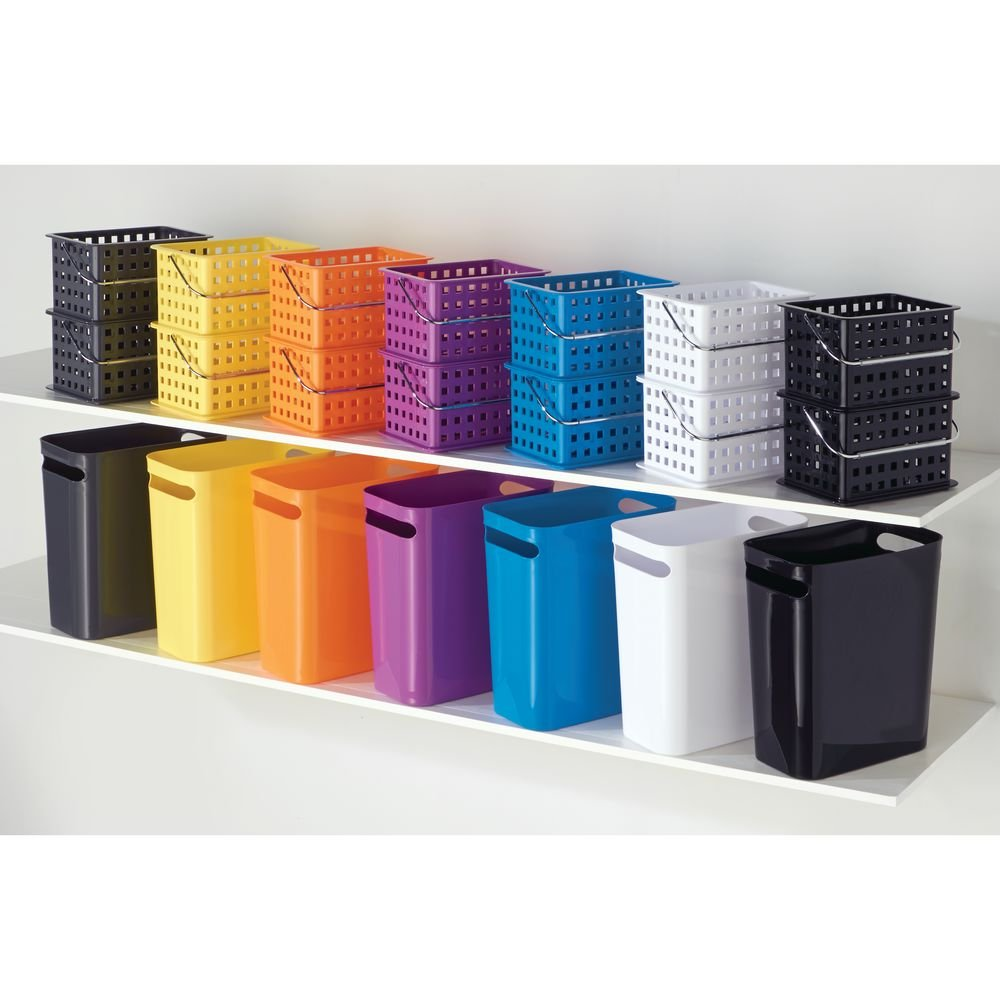 salle de bain ou cuisine moderne iDesign poubelle cuisine /à poign/ée blanc poubelle de bureau petite poubelle de 9,5 L en plastique