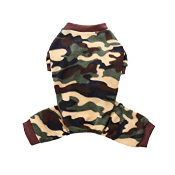 5dbcf816e228 Norbi Pet Dog Pajamas Cool Camouflage Clothes Dog Cat Apparel Puppy  Jumpsuit Comfy Winter Autumn Pjs(C Green)  Amazon.ca  Pet Supplies