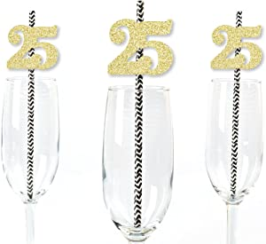 Gold Glitter 25 Party Straws - No-Mess Real Gold Glitter Cut-Out Numbers & Decorative 25th Birthday Party Paper Straws - Set of 24