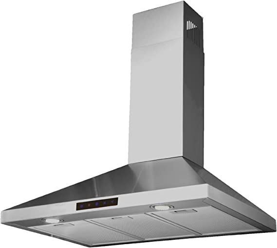 Kitchen Bath Collection 36-inch Wall-mounted Stainless Steel Range Hood  with Touch Screen, Charcoal Carbon Filters for Vent-less Operation.  High-end ...