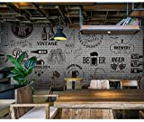 300cmX250cm Gray cement black white brick wall retro wallpaper bar grill fast food restaurant beer shop 3D wallpaper mural,Dark Grey