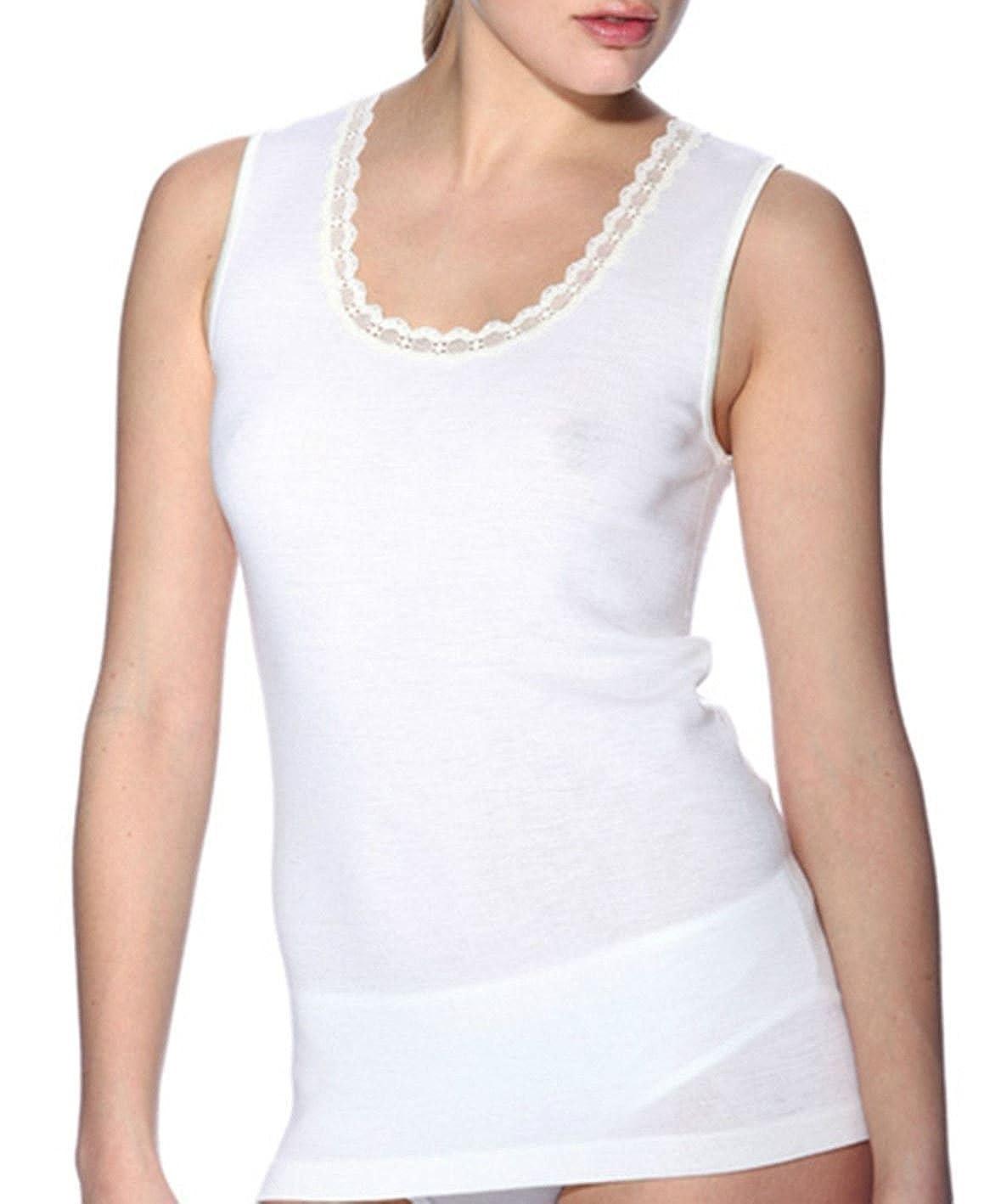 RAGNO Canottiera maglia INTIMA donna spalla larga 100 MERINO bianco