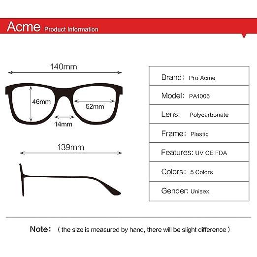 b1c584e92b1 Amazon.com  Pro Acme Non-prescription Glasses Frame Clear Lens Eyeglasses  (Z1 Matte Black)  Clothing