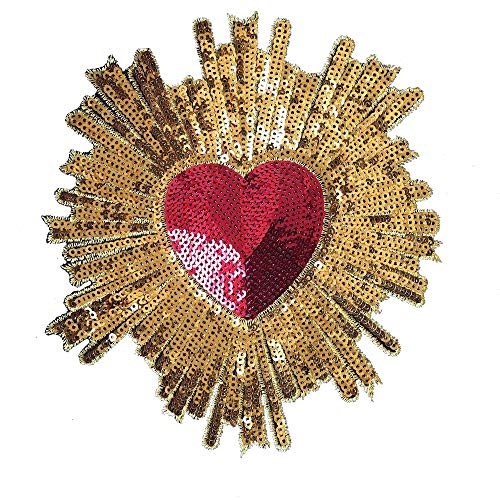 10Pcs/Lot Gold Sequined Heart Applique Sewing Embroidery Patch Patchwork Needlework Patches for Clothing Dress Garment Iron On Embroidered Handmade DIY Craft Clothes Sticker Badges