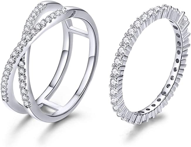 Cubic Zirconia Gemstone 925 Silver Criss Cross Stacking Eternity Band Women Ring
