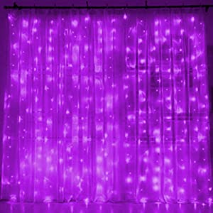 Twinkle Star 300 LED Window Curtain String Light for Christmas Wedding Party Home Garden Bedroom Outdoor Indoor Wall Decoration (Purple)