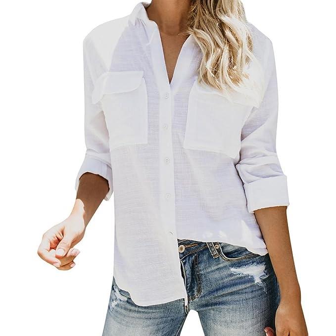 PAOLIAN Blusa de Mujer Manga Largas Otoño 2018 Moda Camisetas Blancas Escote V Ancho Señora Fiesta