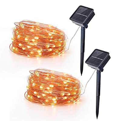 Solar Panel LED Fairy Lights Outdoors Waterproof Led String Lights 32.8FT 3V 100 LED Twinkle Fairy Lights for Patio, Garden, Gate, Yard, Party, Wedding, Christmas (2 Pack) : Garden & Outdoor