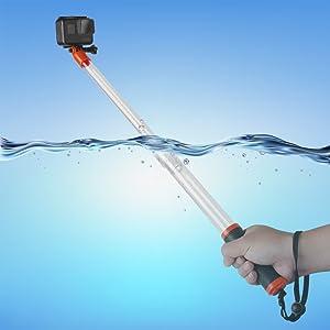 TELESIN Waterproof Transparent Floating Monopod - Extendable Selfie Stick for GoPro 6 5 4 3+ 3 SJ4000 SJ5000