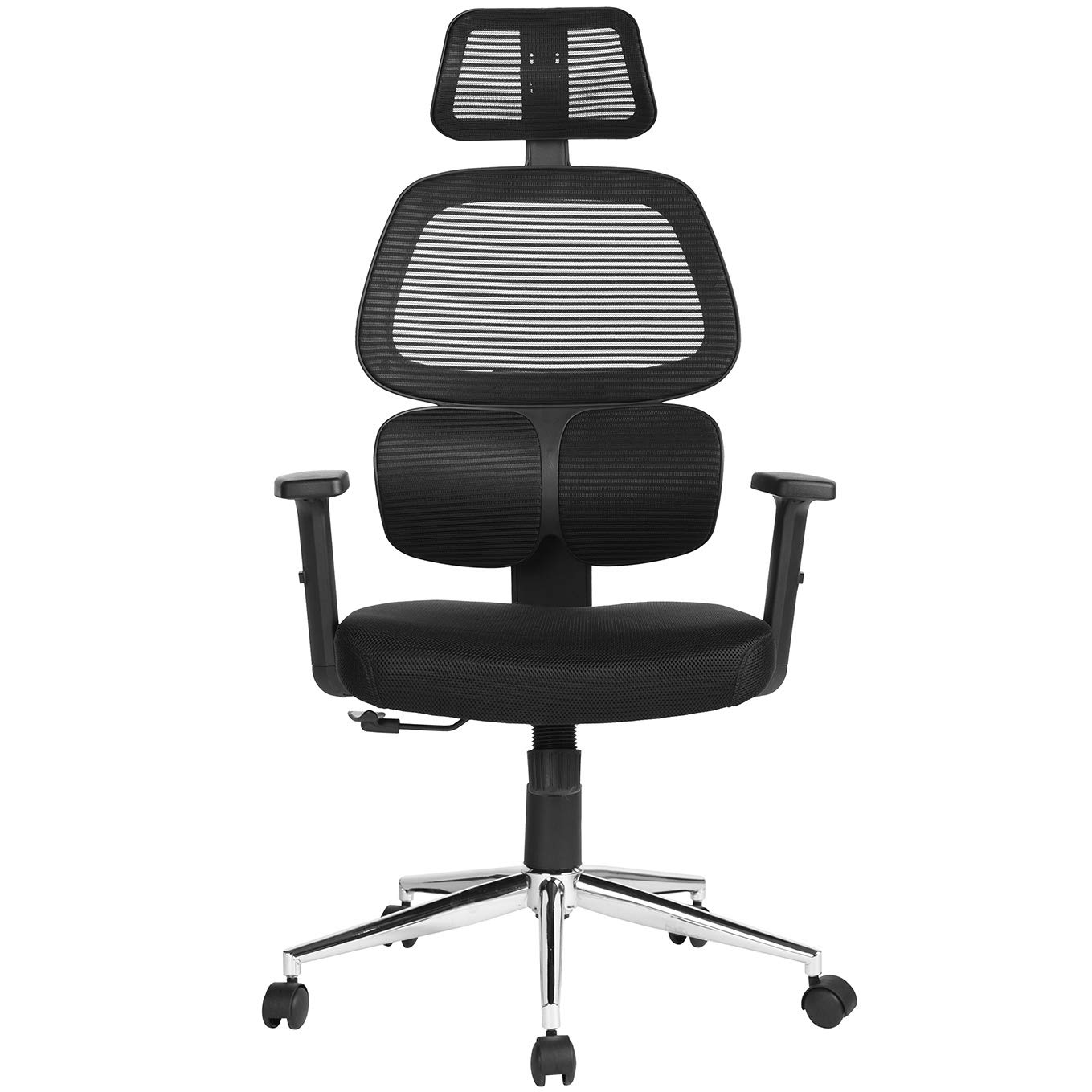 Update Ergonomic Office Chair Mesh Computer Desk Chair with Lumbar Support Adjustable Backrest Headrest Armrest High Back Swivel Task Executive Chairs for Home Office Conference, Black …