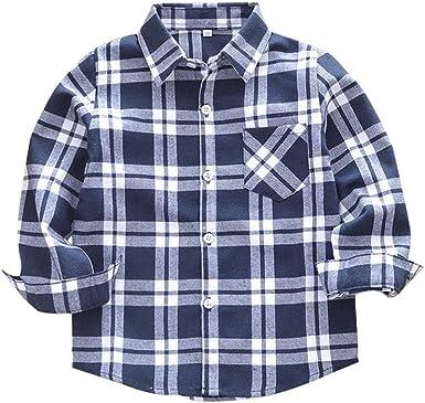Sagton Classic Flannel Plaid Shirt for Girls Boys Button Down Single Chest Pocket Long Sleeve Shirts
