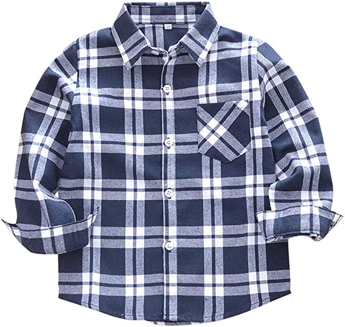 Kids Long Sleeve Check Shirts Plaid Blouse Casual Tops Cotton Outfits 2-3 Years