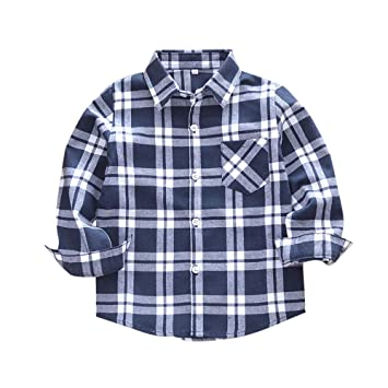 Kids Boys Long Sleeve Button Down Plaid Flannel Shirts with Pocket