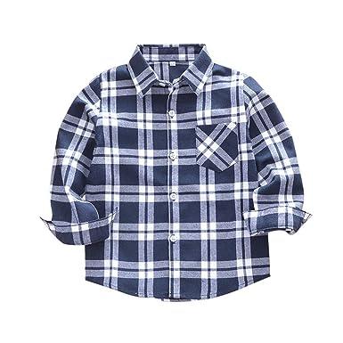 Keliay Bargain Kids Toddler Boys Girls Plaid T Shirt Checks Tops Blouse  Clothes Outfits 917b7695c