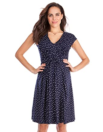 2fb5af45789 Seraphine Women s Navy Dot Empire Detail Maternity Dress at Amazon Women s  Clothing store