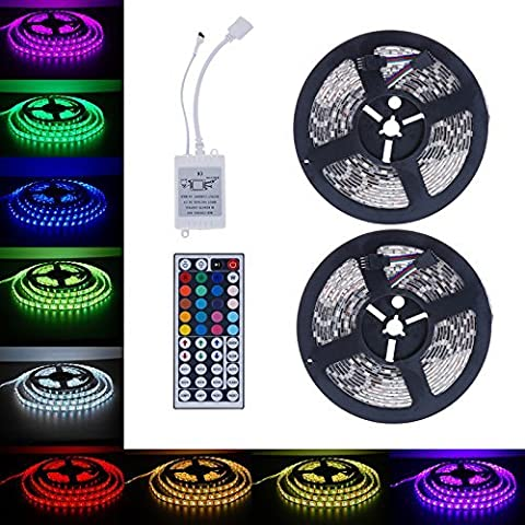 Lary intel Led Strip Lights Kit SMD 5050 32.8 Ft (10M) Non-waterproof 300leds RGB 30leds/m with 44key Ir Controller for Trucks Boats Kicthen Bedroom and Sitting (Animal Temperature Controller)