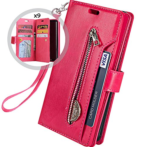 Galaxy S7 Wallet Case for Women/Men,Auker Trifold 9 Card Holder Premium Folio Flip Leather Magnetic Wallet Case with Strap Full Body Protective Zipper Pocket Purse Case for Samsung Galaxy S7 (Rose)