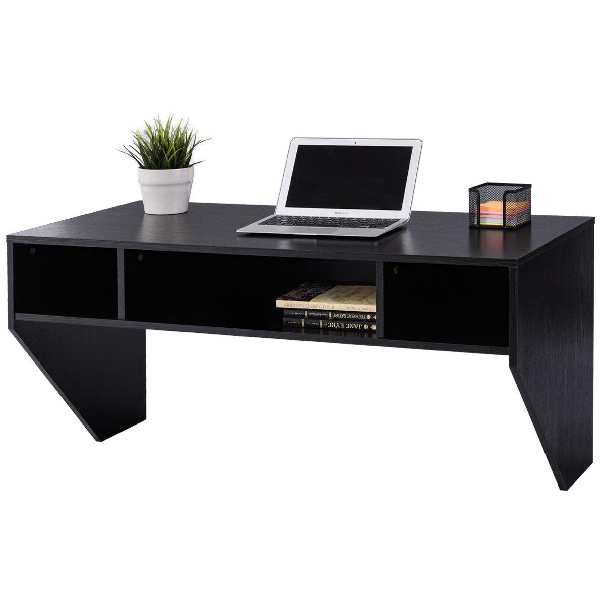Giantex Wall Mounted Floating Computer Desk With Storage Shelves for Home Office Bedroom Home Work Station Desk, Black