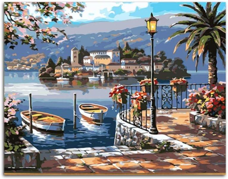 Pintura de puerto por número Pintura al óleo acrílica por números Pintura digital modular por número para cuadros modernos de arte de pared-60x80cm sin marcocuadros dormitorios,pintar por numeros