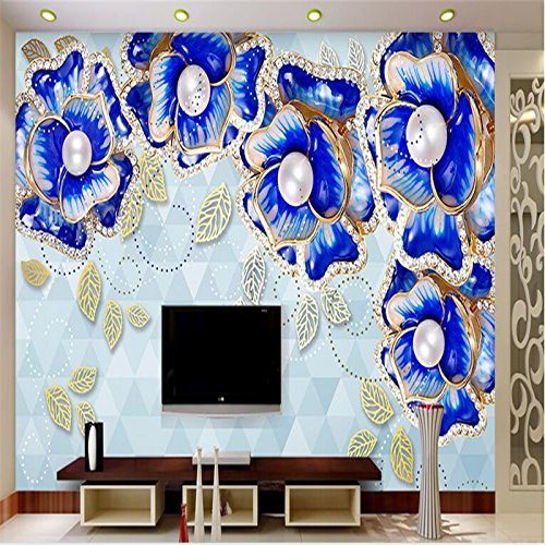 LHDLily 3D Wallpaper Mural Wall Sticker Thickening Jewelry Pearl Flower Peony Flower Tv Living Roomle Tv Contracted Large 300cmX200cm by LHDLily