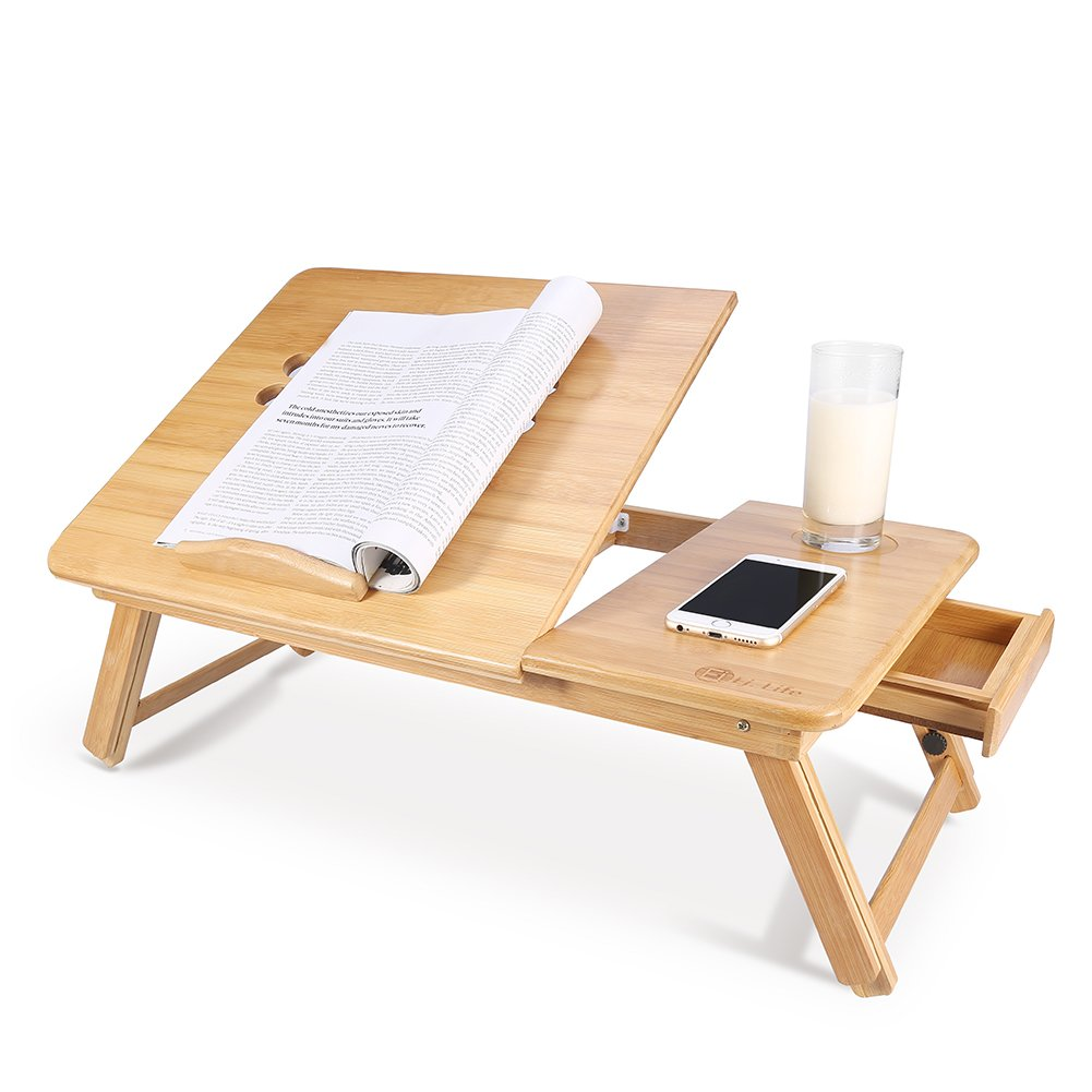 Portable Bamboo Foldable Laptop Desk Notebook Adjustable Height Tray Table Bed Table with Drawer