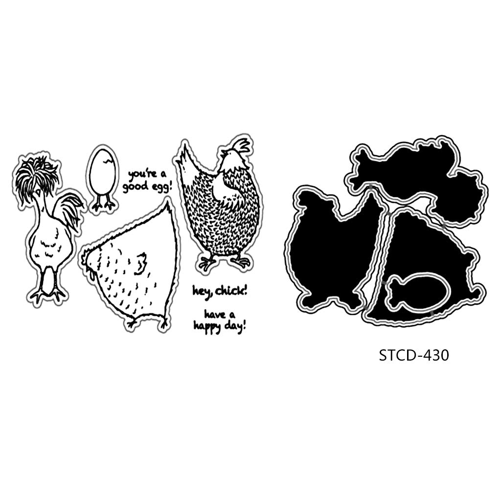 ShapeW Chicken Metal Cutting Dies Stamp Stencils DIY Scrapbooking Photo Album Decor Cards Clear Stamp+Dies Cutting