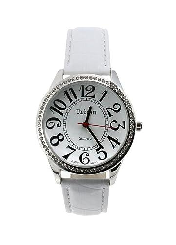 Urbano Reloj de Pulsera para Mujer, Diamante Plateado, Números Grandes y Esfera, Pantalla