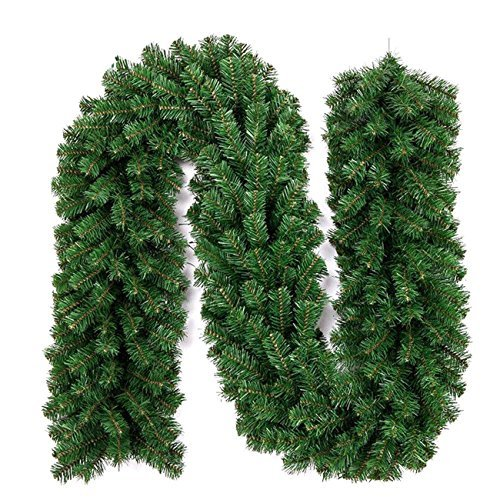 Uheng 9 Foot 10 Inch Christmas Decorations Christmas Garland Green Artificial Wreath Spruce with Berries and Pinecones Xmas Tree Fir Vine Thick Floral Decor for Stairs Wall Door