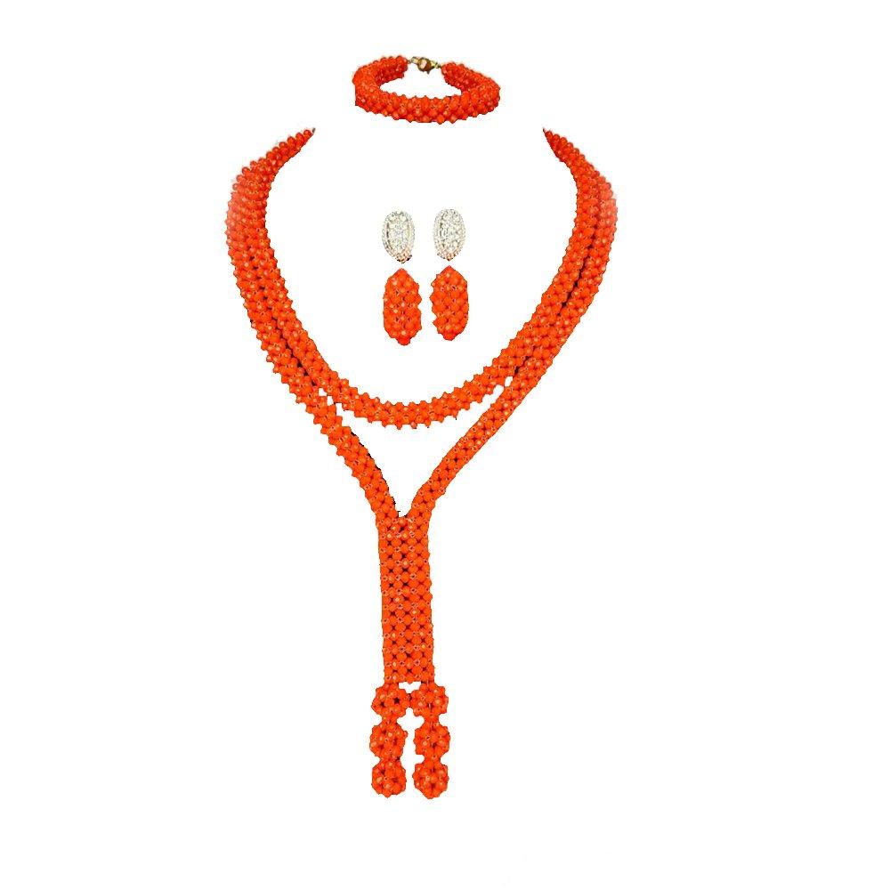 Juego de joyería de boda con diseño de naranja y cuentas africanas ...