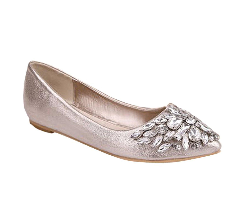 Maybest Women's Casual Rhinestone Ballet Comfort Soft Slip On Flats Shoes B01KZ9DKES 4 B(M) US|Gold