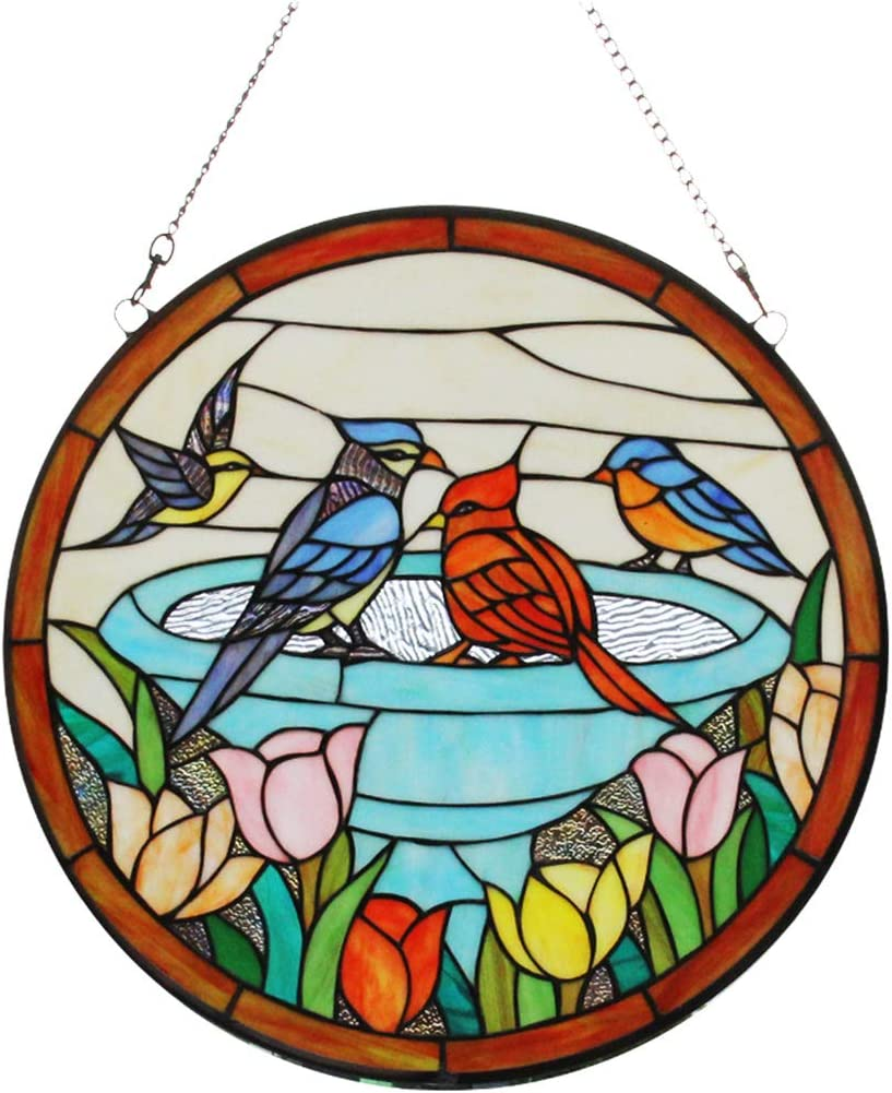Makenier Vintage Art Nouveau Tiffany Style Stained Glass Rounded Parrot and Tulip Window Hanging Window Panel Widnow Pane Window Wall Decor Decoration