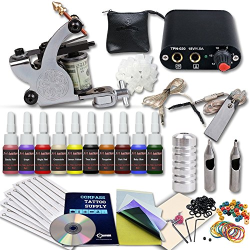 Complete Tattoo Kit Machines Color Inks Power Supply Y-017 (Tattoo Supplies Cheap)