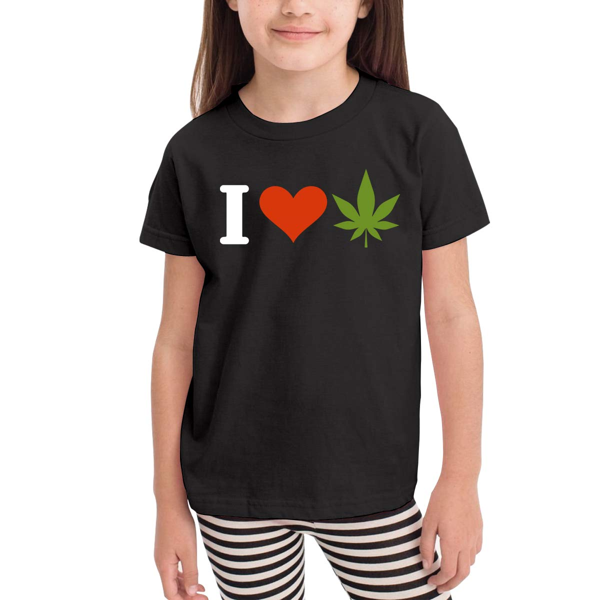 2-6T Short-Sleeve I Love Weed T-Shirts for Children Cute Tunic Shirt Dress