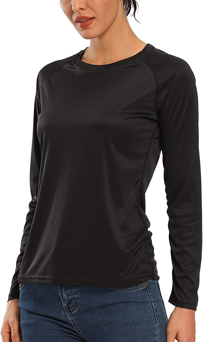 CQC Women's Outdoor Long Sleeve T-Shirt Quick Dry Athletic Running Shirts UPF 50+ Sun Protection Black M
