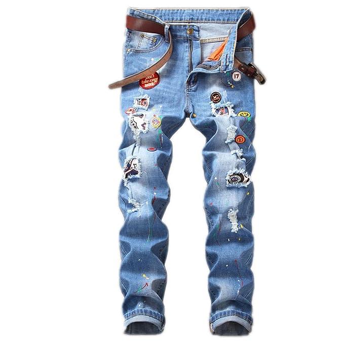 Imprimir Badge Biker camuflaje pantalones vaqueros Mens ...