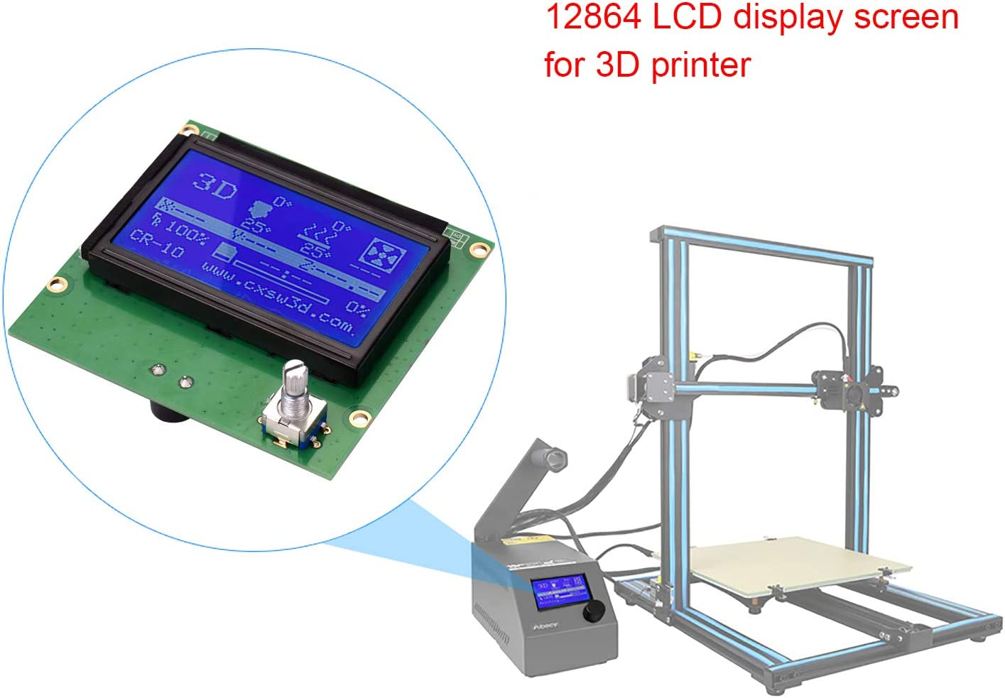 Aibecy 3D Printer Parts 12864 LCD Display Screen with Cable Replacement for Creality CR-10 CR-10S S4 S5 Ender 3 3D Printer