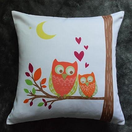 Molde cuadrado para Howarmer con poliéster suave algodón manta decorativa de búho decorativo almohadas de cojines