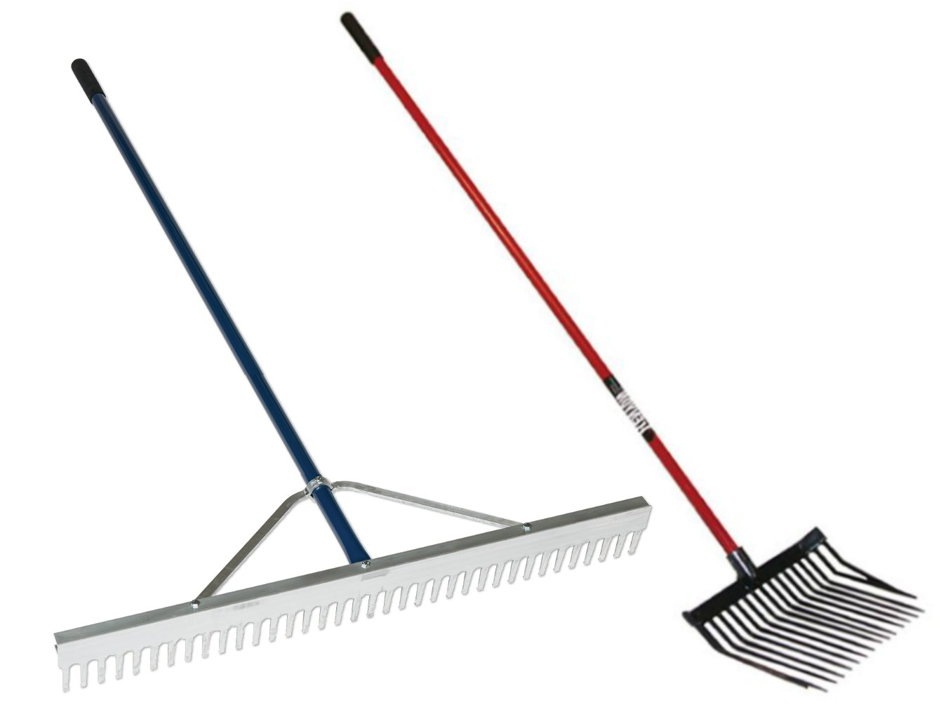 36'' Wide Aluminum Beach & Landscaping Rake + Pitch Fork Combo Kit