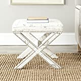 Safavieh Mercer Collection Stacy French Script Ottoman, White