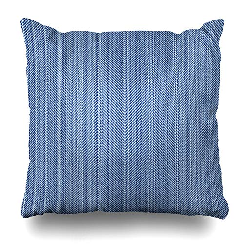 - Ahawoso Throw Pillow Cover Herringbone Pattern Vintage Blue Jeans Denim is Abstract Distressed Material Angle Canvas Color Decor Zippered Cushion Case 20