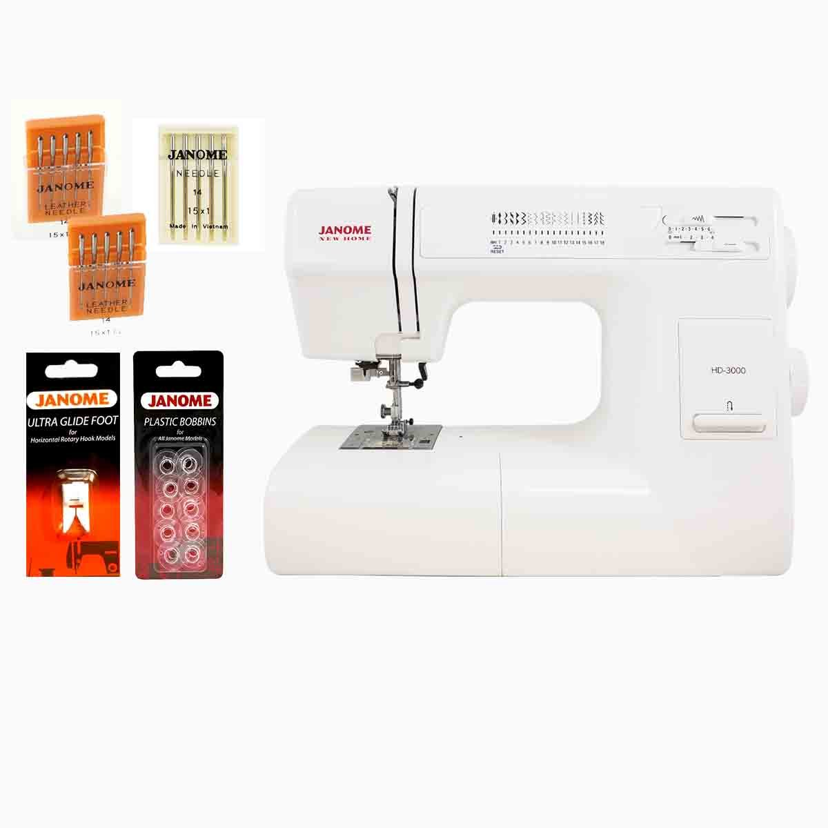 Janome HD3000 Heavy Duty Sewing Machine w/Hard Case + Ultra Glide Foot + Blind Hem Foot + Overedge Foot + Rolled Hem Foot + Zipper Foot + Buttonhole Foot +..