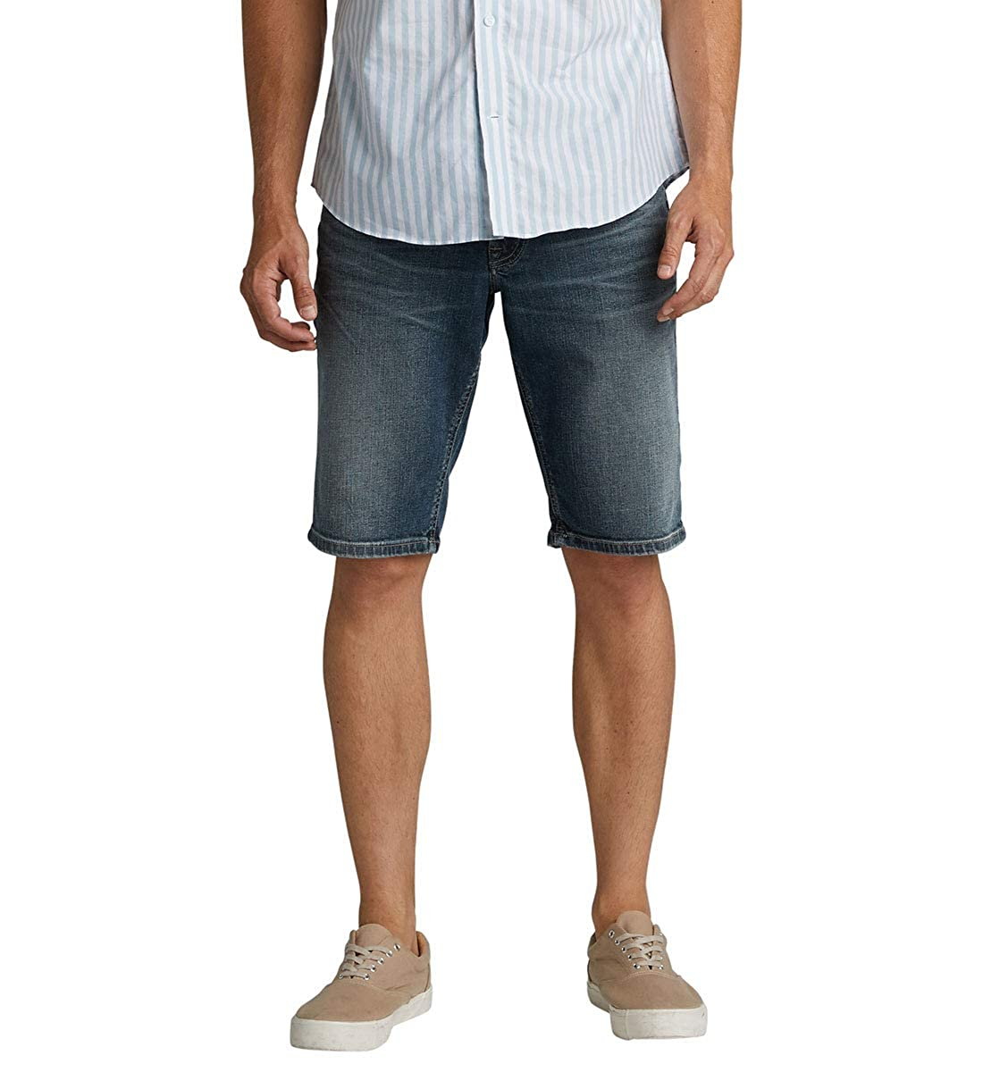 Mens Zac Relaxed Fit Shorts Silver Jeans Co