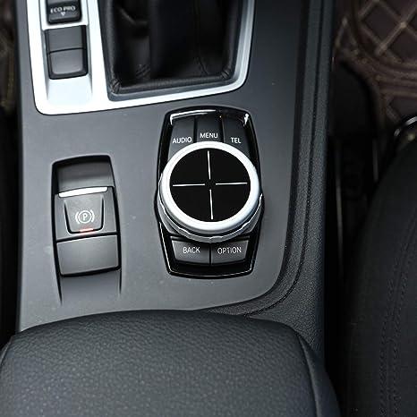 for 5 F10 GT f07 6 7 series X3 F15 X4 F16 X5 F25 X6 F26 Car Electronic Handbrake H Button Cover Trim Aluminum Alloy Silver Interior Auto Vehicle Accessory 2 pcs//set
