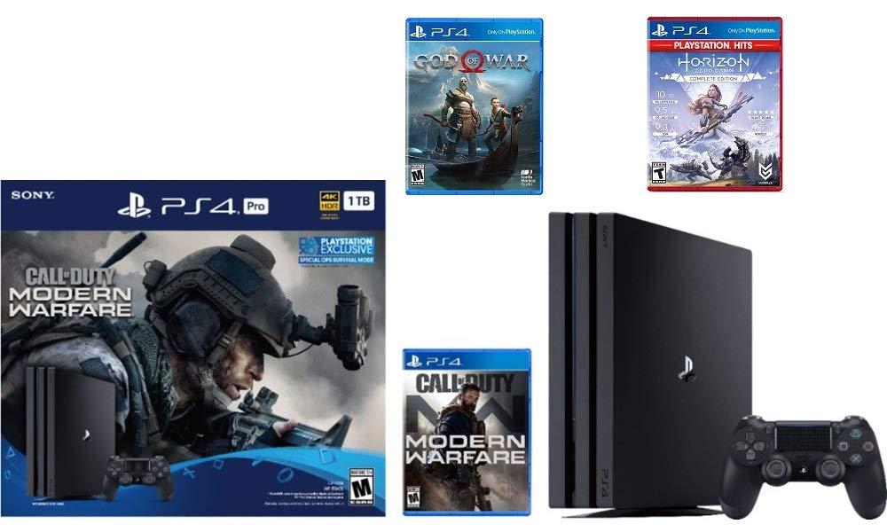 Newest Sony PlayStation 4 Pro 1TB Console Call of Duty: Modern Warfare Bundle W /Game :Horizon Zero Dawn Complete Edition Hits , God of War