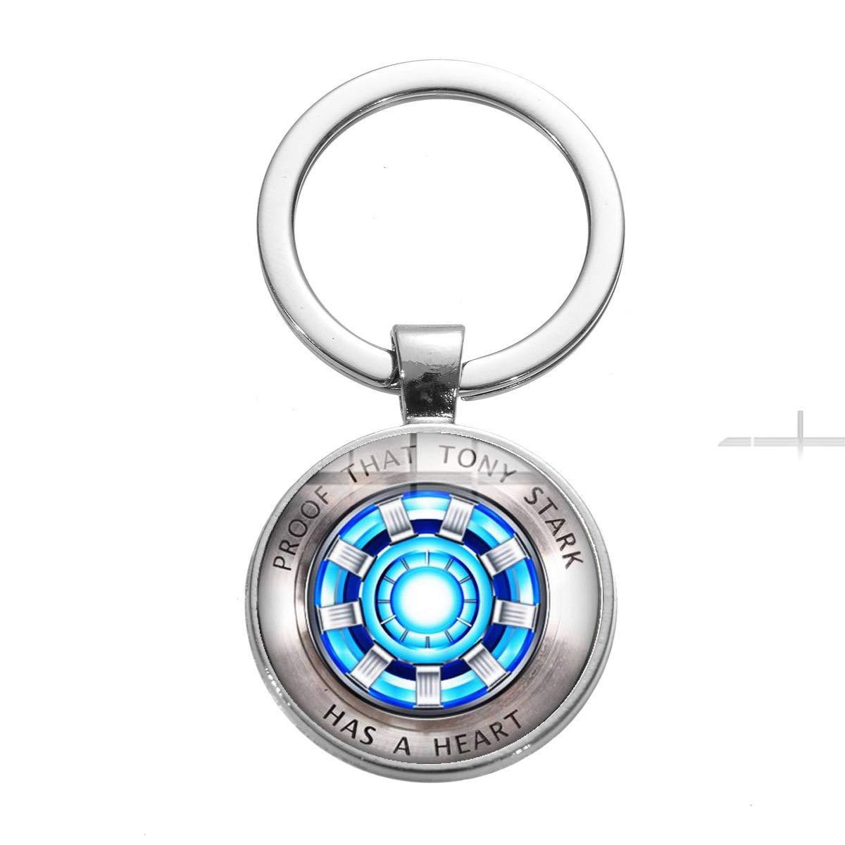 1 2019WZGG Avengers Hot Iron Man Heart Time Gemstone Colgante Llavero Colgante