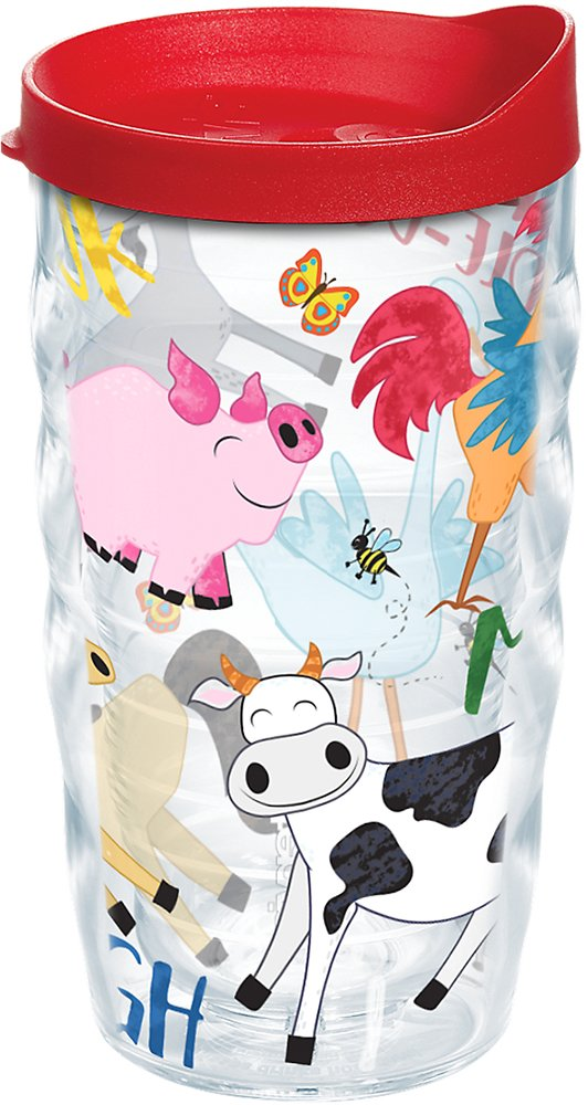 Tervis 1223247 Farm Animals - Group Tumbler with Wrap and Red Lid 10oz Wavy, Clear by Tervis