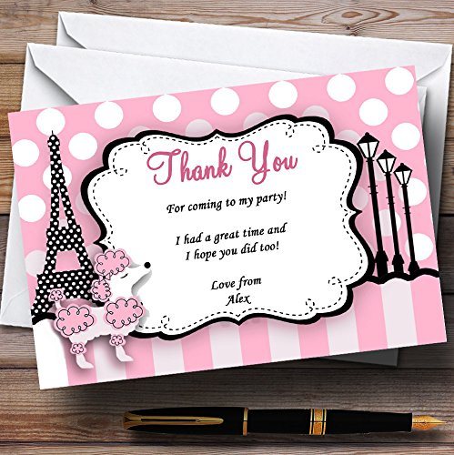 (Pink Poodle Paris Personalized Birthday Party Thank You)