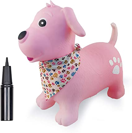Boys and Girls Bouncy Inflatable Animal Ride-on Toy for Children Pump Included Toddlers Horse Hopper Pink